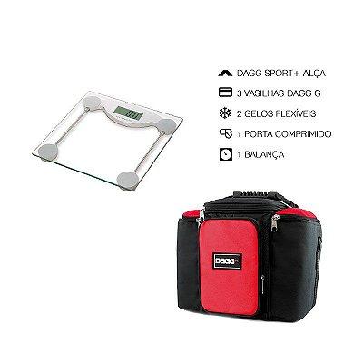 Kit Bolsa Térmica Fitness Vermelha G + Balança Digital Alta Precisão