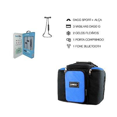 Kit Bolsa Térmica Fitness Azul G + Fone De Ouvido Bluetooth Sports