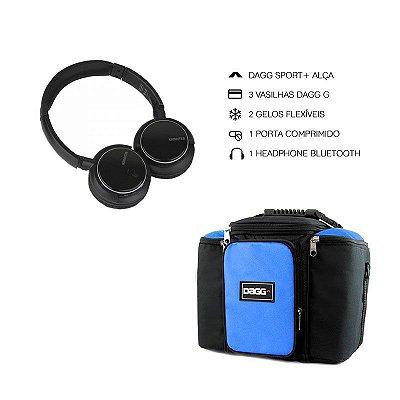 Kit Bolsa Térmica Fitness Azul G + Headphone Bluetooth Msx
