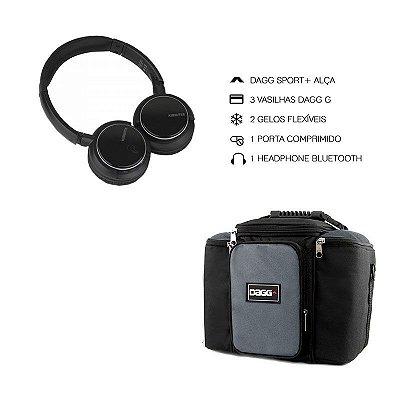 Kit Bolsa Térmica Fitness Cinza G + Headphone Bluetooth Msx