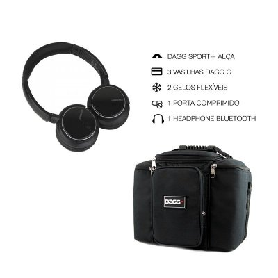 Kit Bolsa Térmica Fitness Preta G + Headphone Bluetooth Msx