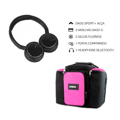 Kit Bolsa Térmica Fitness Rosa G + Headphone Bluetooth Msx