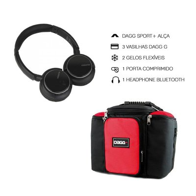 Kit Bolsa Térmica Fitness Vermelha G + Headphone Bluetooth Msx