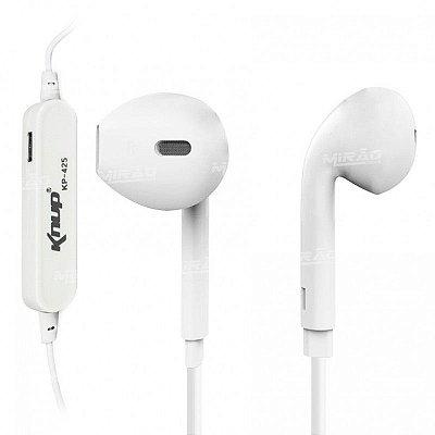 Fone de Ouvido Knup Wireless via Bluetooth Branco