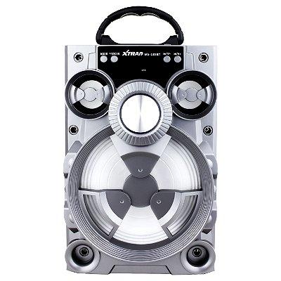 Caixa De Som Xtrad Portátil Amplificada Mp3 fm sd USB Bluetooth 15Wrms Prata
