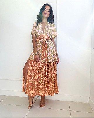 Vestido Rosas Manga