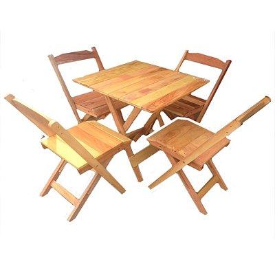 Jogo de mesa com 4 cadeiras dobrável peroba rosa.
