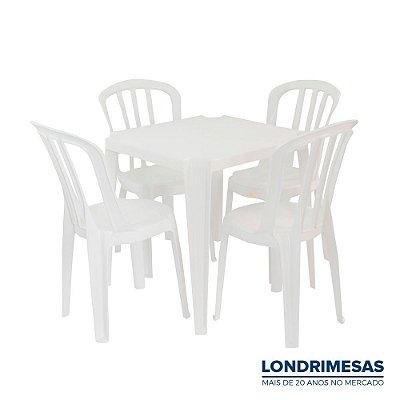 Jogo 01 Mesa e 04 Cadeiras Bistro Branca 140 kg
