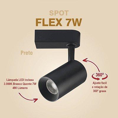 SPOT PARA TRILHO - FLEX 7W - PRETO