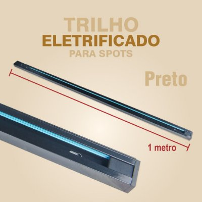 TRILHO ELETRIFICADO PARA SPOTS COM 1 METRO - PRETO