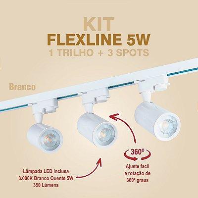KIT FLEXLINE - 1 TRILHO + 3 SPOTS - 5W - BRANCO