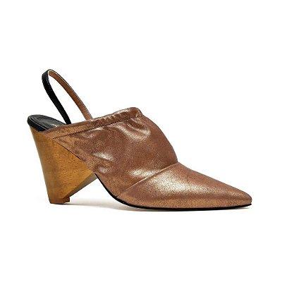 Sapato Feminino Scarpin Bruxelas Bronze