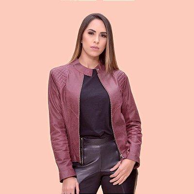 Jaqueta Couro Matelassê Marsala - Karine Daher