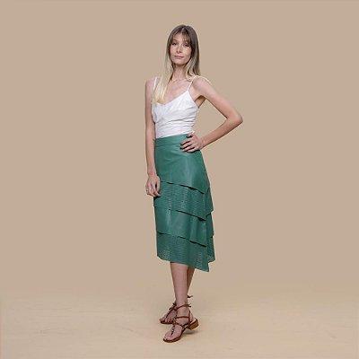Saia Couro Perfurada Camadas Verde Bandeira - Karine Daher