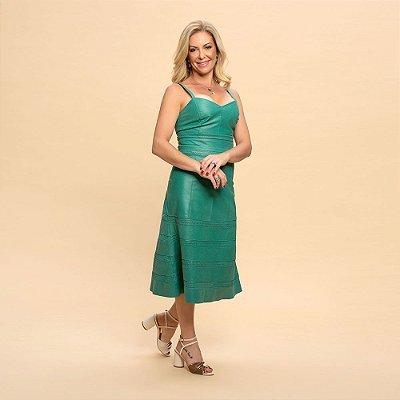 Vestido Couro Evase Perfurado Alça Verde Bandeira - Karine Daher