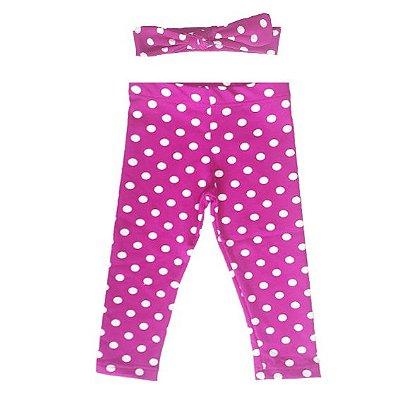 Legging e Faixinha Raissa Pink com Poá