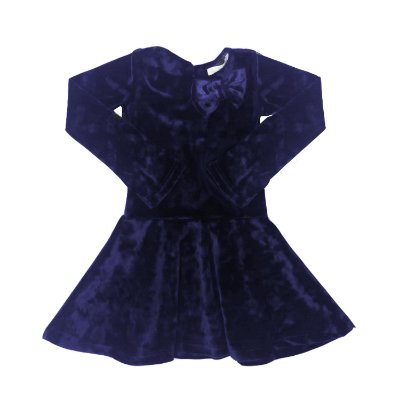 Vestido Veludo Natália Azul Marinho