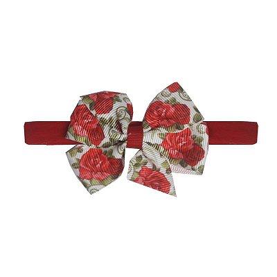 Faixa Laço Letiti Floral Vermelha M