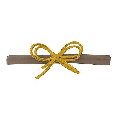 Faixa Laço Camurça Amarela e Nude P