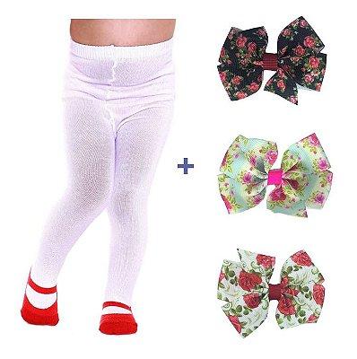 kit Julia- meia calça e 3 laços