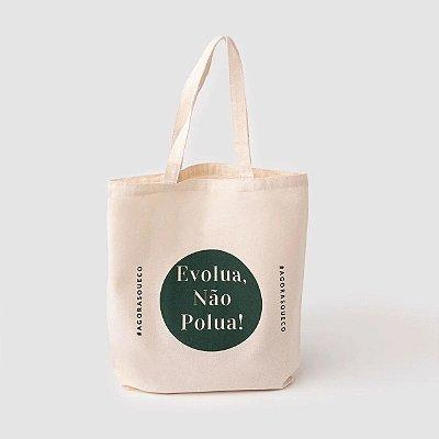 Sacola Ecobag média 100% algodão cru - Evolua, não polua