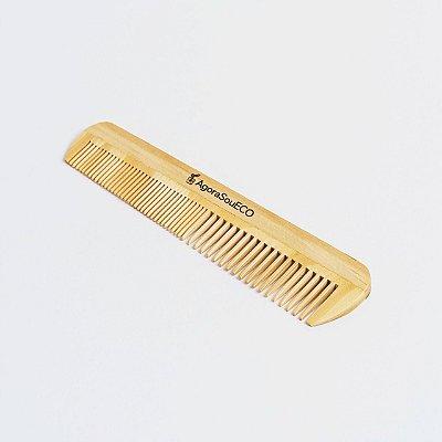 Pente de madeira - retangular - dentes médios