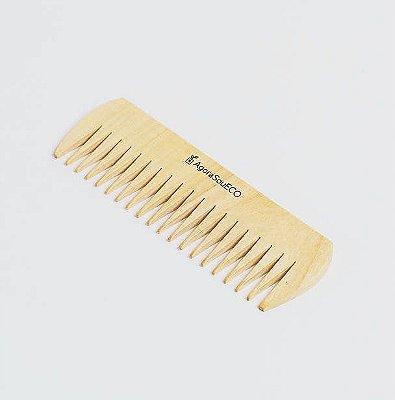Pente de madeira - retangular - dentes largos