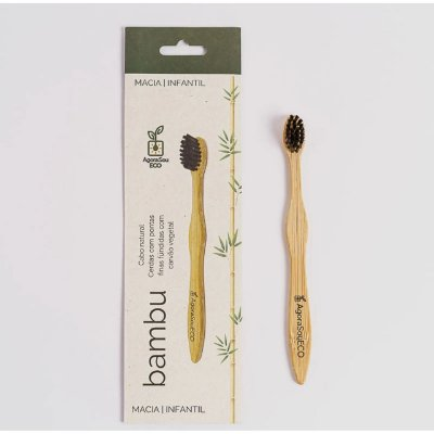 Escova de dente de bambu - infantil - cerdas macias