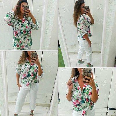Camisa Seda Estampa Floral