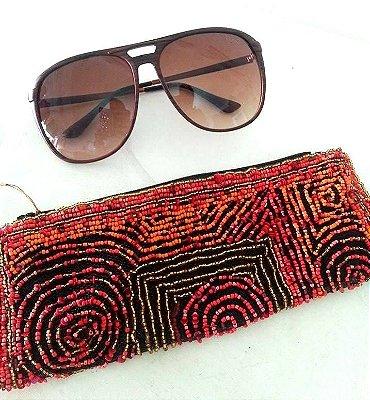 Carteira/Porta Maquiagem/Óculos/Lápis Bordado Miçangas Coral