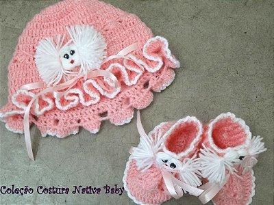 Combo Gorrinho + Sapatinho Crochet Linha Baby