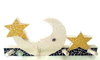 Pendurador de Roupas/Chaves Lua e Estrela em Mosaico
