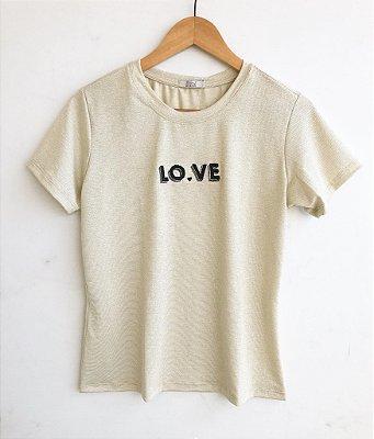 Tee premium Love (Dourada) - Onde mora a Gratidão