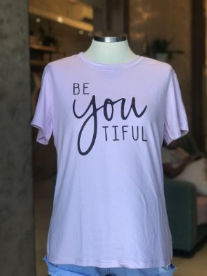 Tee luxo Lilás(floral) Be You Tiful - Sonho Bom