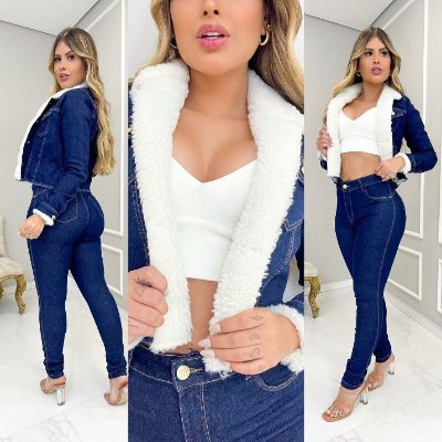 Jaqueta Jeans  Curta Pelúcia