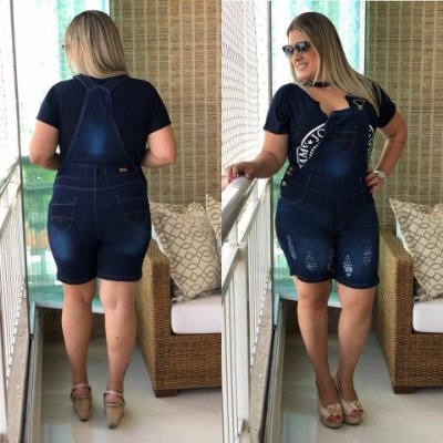 Jardineira Jeans Plus Size Destroyed