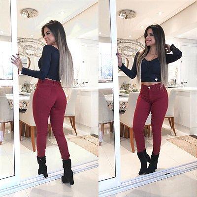 Calça Jeans Hot Pant - Vinho