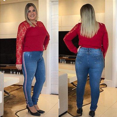 Calça Jeans Plus size Hot Pant Listrada Azul claro