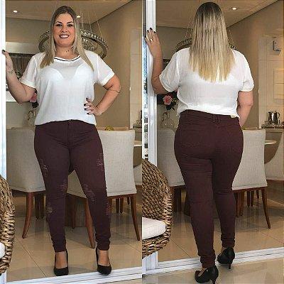 Calça Jeans Destroyed Marrom Hot Pant