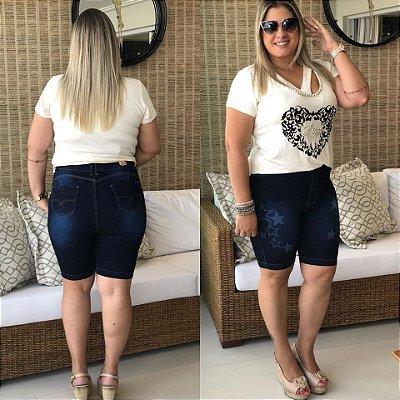 Bermuda Jeans Plus Size  Escura