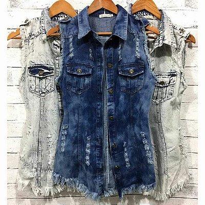 Colete Jeans Rajado