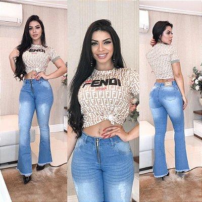 Calça Jeans Flare Zíper Frontal