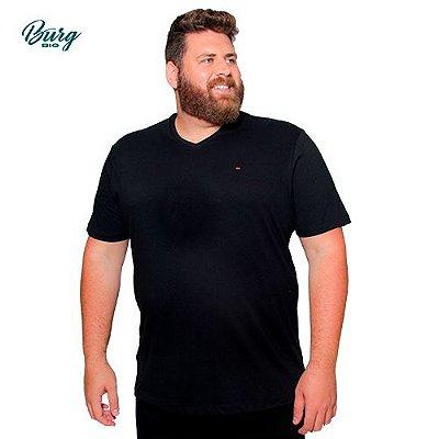 Camiseta Gola em V Plus Size - Algodão com Elastano