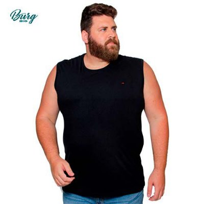 Camiseta Gola Careca Sem Manga Plus Size