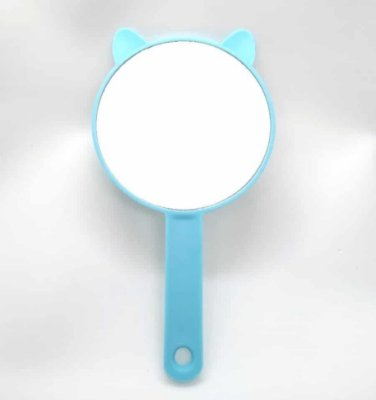 Espelho De Mão Redondo Gatinho Azul