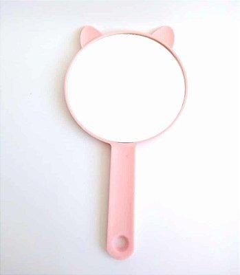 Espelho De Mão Redondo Gatinho Rosa