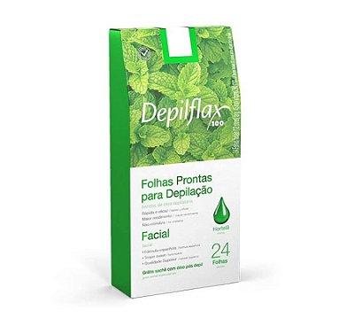 Folhas Prontas Para Depilação Facial Hortelã Depilflax 24un