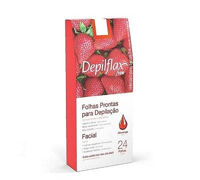 Folhas Prontas Para Depilação Facial Morango Depilflax 24un