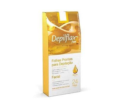 Folhas Prontas Para Depilação Facial Natural Depilflax 24un