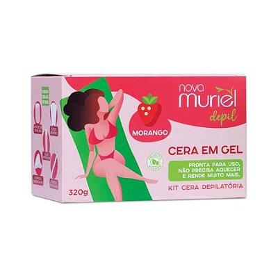 Kit Cera Depilatória Gel Pote Morango Muriel 320g